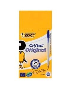 Bic Crystal Ball Point Pens Medium Blue x 50 Wholesale Box