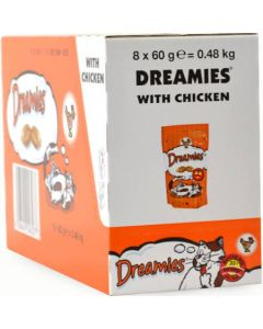 Dreamies Cat Treats with Tasty Chicken 60g x 8 Wholesale Case