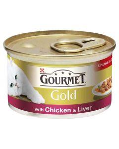Gourmet Gold Cat Food Chicken & Liver in Gravy 85g Can