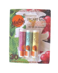 Malibu Lip Care Balm SPF 30 (3 x 4g Mixed Pack) MINT/VANILLA/BERRY