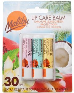 Malibu Lip Care Balm SPF 30 (3 x 4g Mixed Pack) WATERMELON/VANILLA/TROPICAL