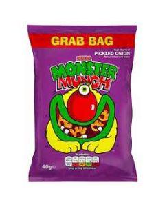 Walkers Mega Monster Munch Pickled Onion 40g Corn Crisps GRAB BAG Clearance