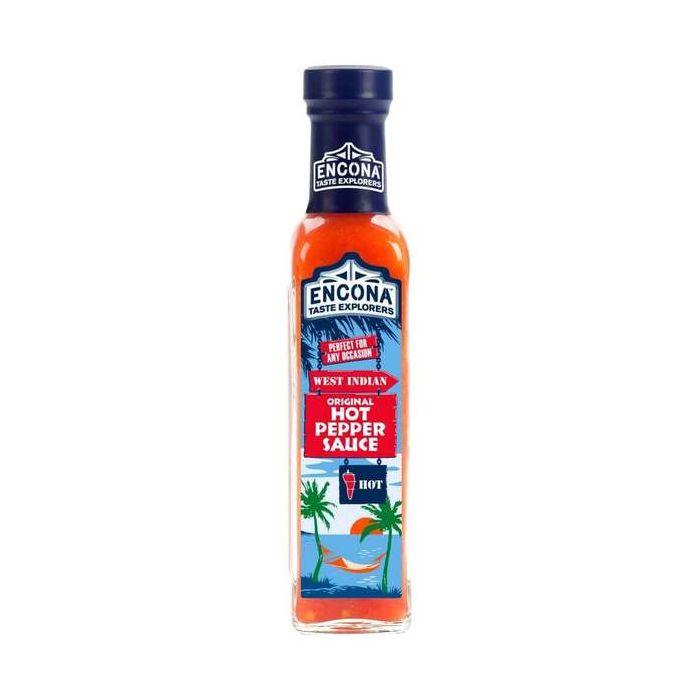 Encona West Indian Original Hot Pepper Sauce 220ml Glass Bottle