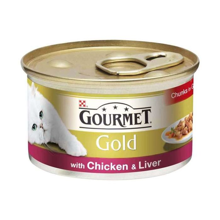 Gourmet Gold Cat Food Chicken & Liver in Gravy 85g Can