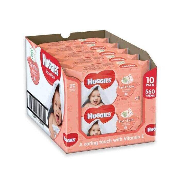 Huggies Soft Skin Baby Wipes 56s x 10 Wholesale Pack