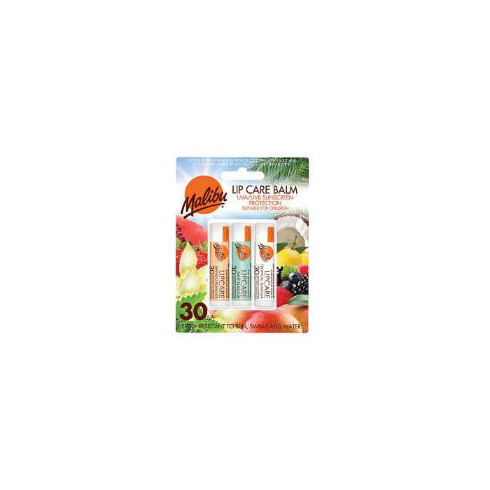 Malibu Lip Care Balm SPF 30 (3 x 4g Mixed Pack) MANGO MINT TROPICAL