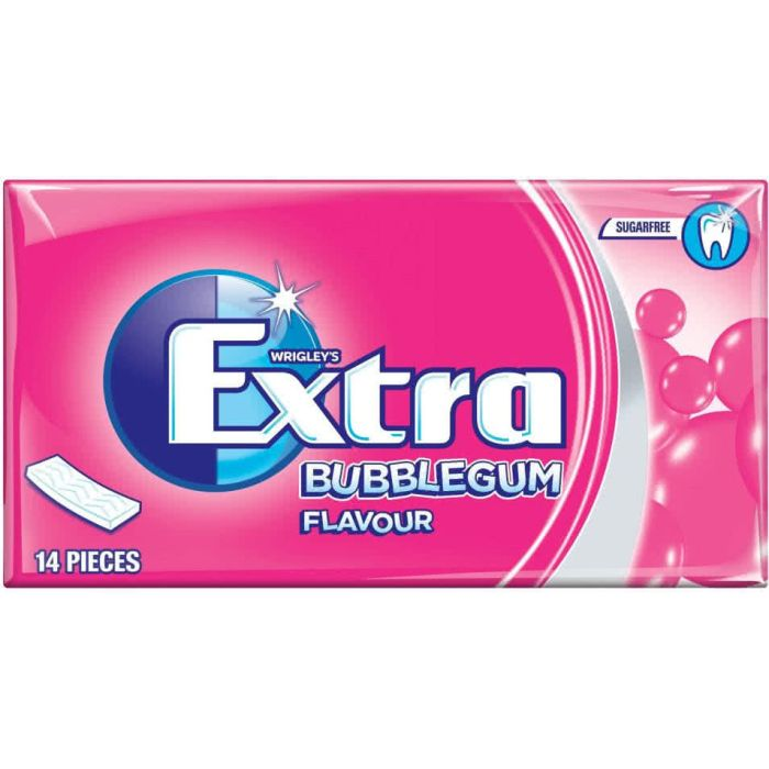 Wrigley's Extra Sugar Free BUBBLEGUM Flavour 27g chewing gum Out of Date 16 Jul 2016